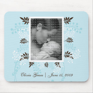 Floral and Fern PHOTO template (blue) Mouse Pad