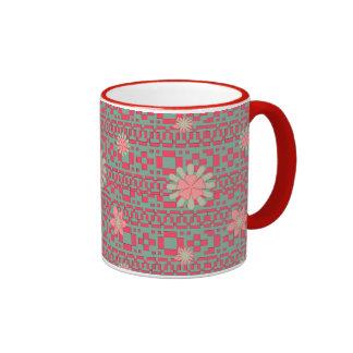 Floral and Geometric Shapes Pattern Mug