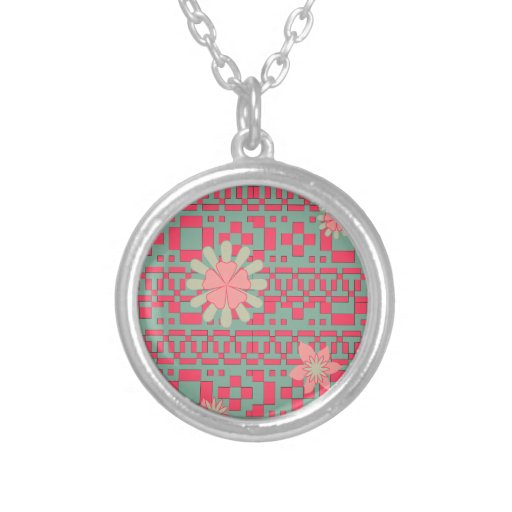 Floral and Geometric Shapes Pattern Necklace Custom Necklace