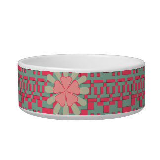 Floral and Geometric Shapes Pattern Pet Bowl Cat Food Bowls