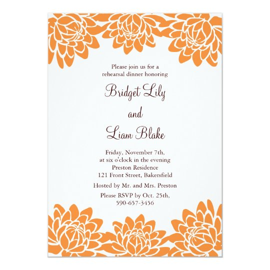 Floral and Modern Rehearsal Dinner Card