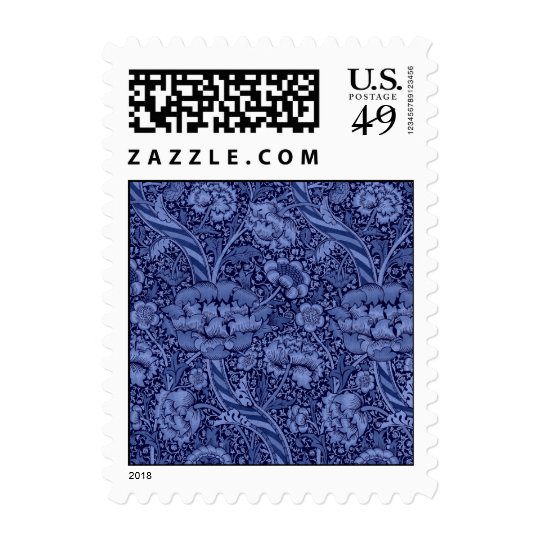 Floral and Ribbon in Blue Postage