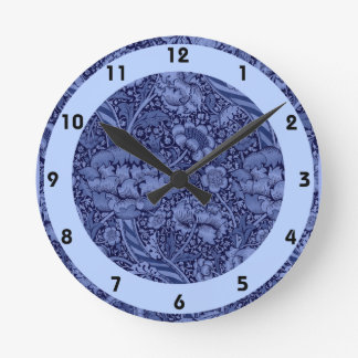 Floral and Ribbon in Blue Round Clock