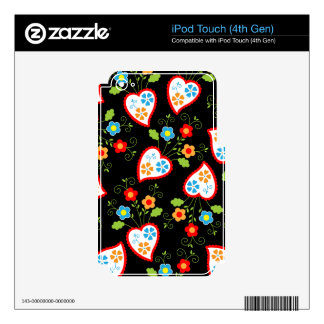 Floral and romantic hearts decals for iPod touch 4G