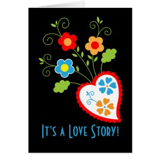 Floral and romantic hearts greeting card