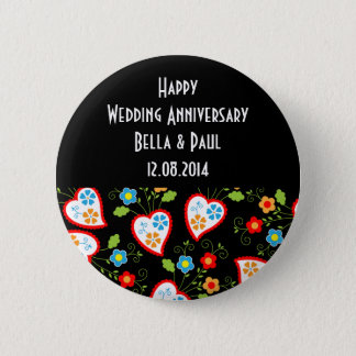 Floral and romantic hearts pinback button