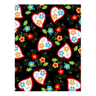 Floral and romantic hearts postcard