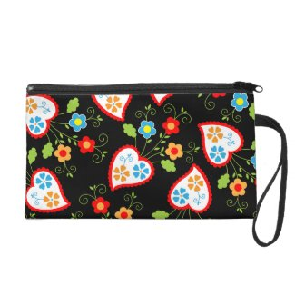 Floral and romantic hearts wristlet purse