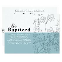 Floral and Vintage Blue Baptism Card