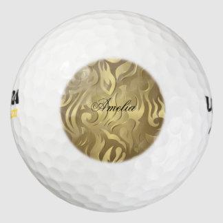 Floral, antiguo, oro, modelo, vintage, elegante, pack de pelotas de golf
