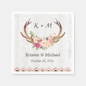 Floral Antler Boho Decor Rustic White Wood Wedding Paper Napkin