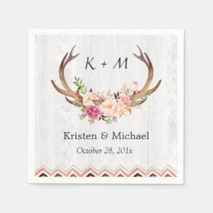 Floral Antler Boho Decor Rustic White Wood Wedding Paper Napkin