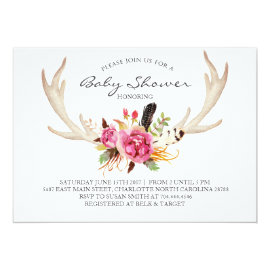 Floral antler boho Shower Invitation