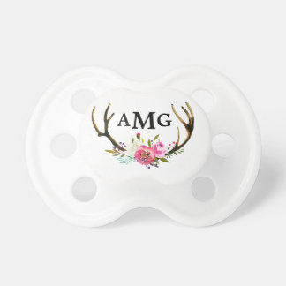 Floral Antler Initial Pacifier