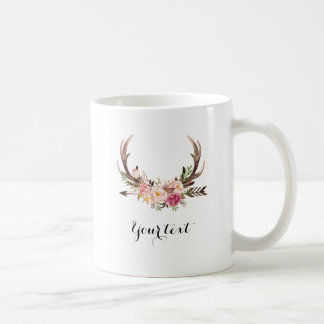Floral Antler mug with custom text
