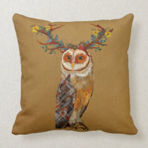 FLORAL ANTLER OWL GOLD Pillow