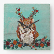 FLORAL ANTLER OWL SQUARE WALL CLOCK
