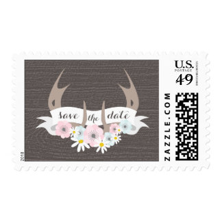 Floral Antlers + Barn Wood Save The Date Postage