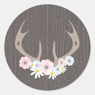 Floral Antlers + Barn Wood Sticker