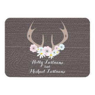 Floral Antlers + Barn Wood Wedding RSVP Invite