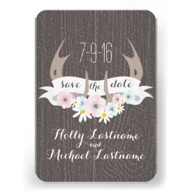Floral Antlers   Barn Wood Wedding Save The Date Invitations