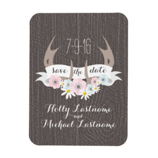 Floral Antlers + Barn Wood Wedding Save The Date Rectangular Photo Magnet