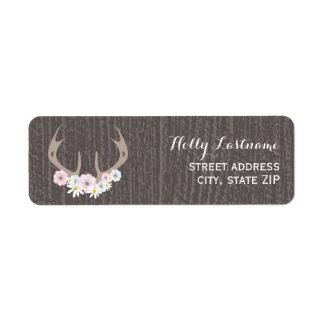 Floral Antlers + Barnwood Address Label