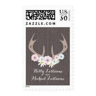 Floral Antlers + Barnwood Wedding Postage