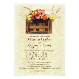 Floral Antlers Boho Rustic Wedding Invitations