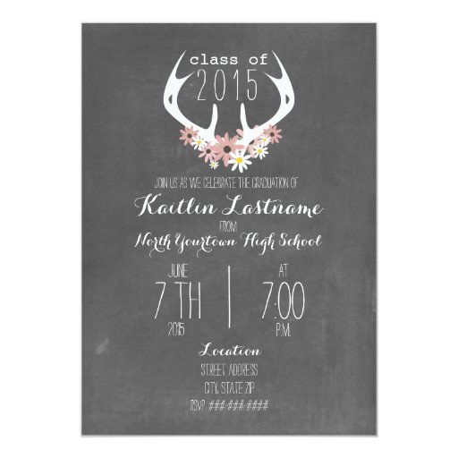 Floral Antlers Chalk Inspired 2015 Graduation Card