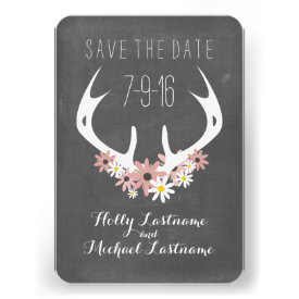 Floral Antlers   Chalkboard Inspired Save The Date Custom Invites