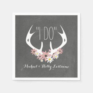 Floral Antlers Chalkboard Inspired Wedding Standard Cocktail Napkin