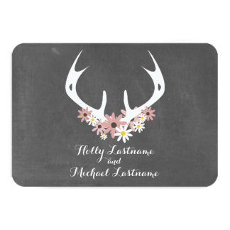 Floral Antlers + Chalkboard Inspired Wedding RSVP Personalized Announcement