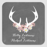 Floral Antlers + Chalkboard Inspired Wedding Stickers
