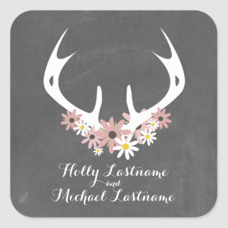 Floral Antlers + Chalkboard Inspired Wedding Square Sticker