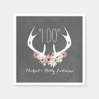 Floral Antlers Chalkboard Inspired Wedding Paper Napkins