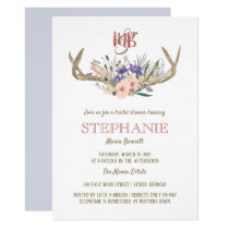 Floral Antlers Rustic Bridal Shower Invitation