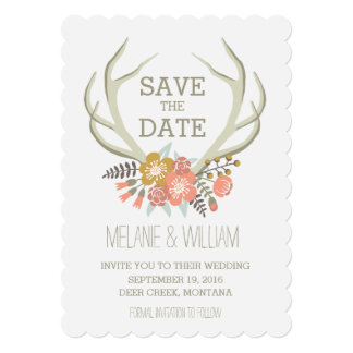FLORAL ANTLERS | RUSTIC SAVE THE DATE CARD
