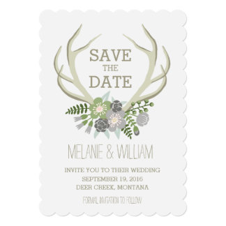 FLORAL ANTLERS | RUSTIC SAVE THE DATE 5X7 PAPER INVITATION CARD