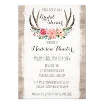 Floral Antlers Rustic Wedding Bridal Shower Custom Card