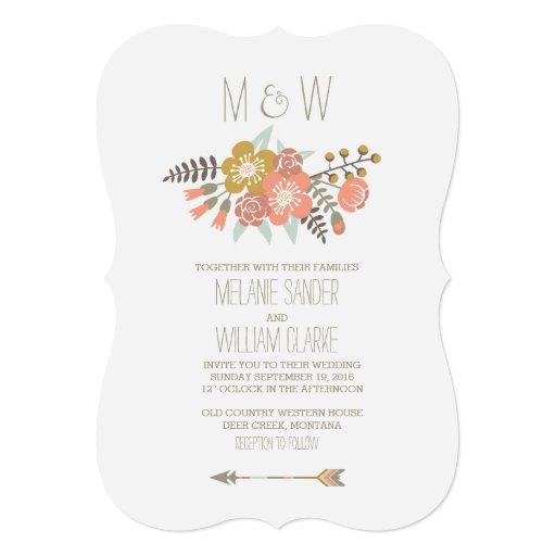 "FLORAL ANTLERS RUSTIC WEDDING INVITATION 5"" X 7"" Invitation Card"