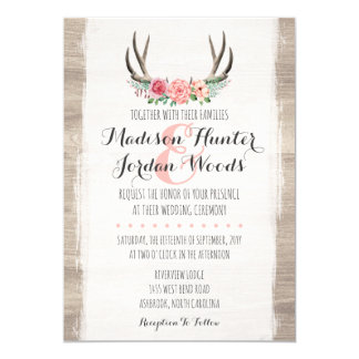 Attractive Floral Antlers Rustic Wedding Personalized Formal Card