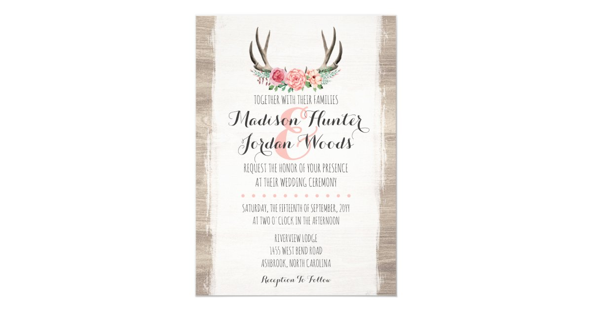 floral antlers rustic wedding personalized formal card - Formal Wedding Invitations