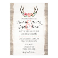 Floral Antlers Rustic Wedding Personalized Formal Invitation