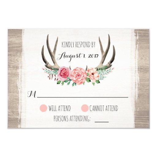 Floral Antlers Rustic Wedding Personalized RSVP Card
