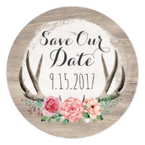Floral Antlers Rustic Wedding | Save The Date Invitation