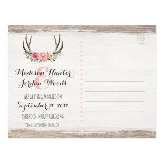 Floral Antlers Rustic Wedding | Save The Date Postcard