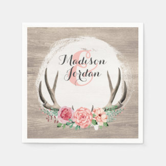Floral Antlers Rustic Wood Wedding Personalized Napkin