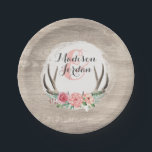 "Floral Antlers Rustic Wood Wedding Personalized Paper Plate<br><div class=""desc"">Rustic country inspiration meets woodsy feminine warmth! This wedding design suite features realistic wood grain background and shabby vintage roses on natural deer antlers. It&#39;s a beautifully romantic and on-trend motif for your special day. • Customize it! Follow the template to easily add your own text, or click the &quot;Customize&quot;...</div>"