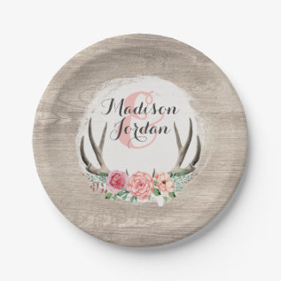 Floral Antlers Rustic Wood Wedding Personalized Paper Plate at Zazzle